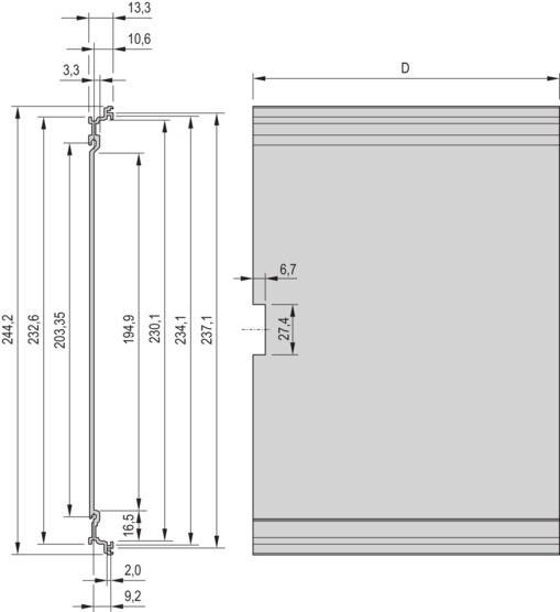 Frame type plug in unit kit, unshielded, without perforations, rear cutout for single connector 3/6 U