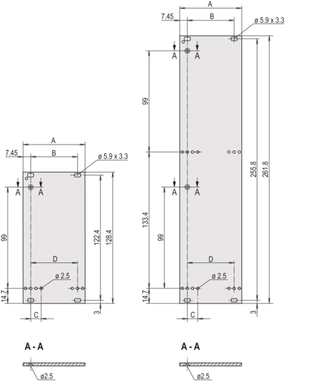 Front panel, unshielded, front assembly, for static trapezoid or Al profile handle