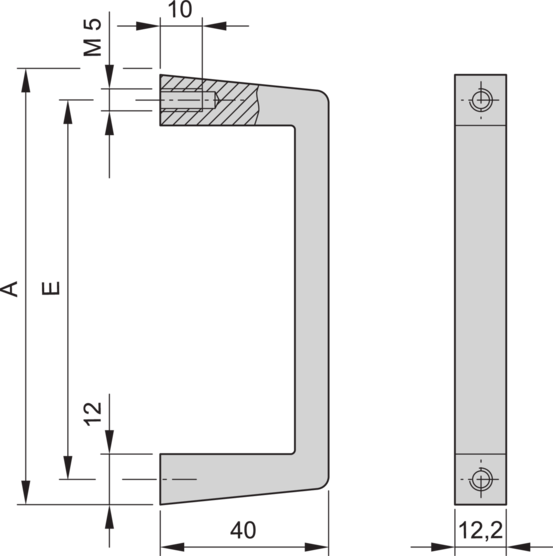 Front handle, one-piece, width 12.2 mm, straight/angled version