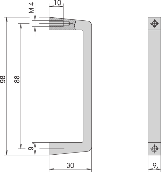 Front handle, one-piece, width 9 mm